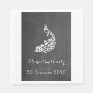 Trendy Romantic vintage peafowl chalkboard wedding Disposable Napkins