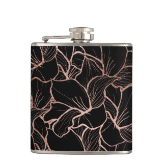 Trendy rose gold abstract handdrawn floral black hip flask