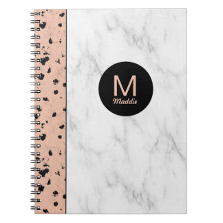 Trendy Rose Gold and Marble with Monogram Spiral Note Books