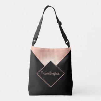 Trendy Rose Gold Black Metallic Feminine Modern Crossbody Bag