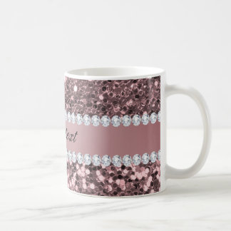 Trendy Rose Gold Faux Glitter and Diamonds Coffee Mug