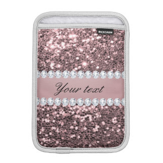 Trendy Rose Gold Faux Glitter and Diamonds Sleeve For iPad Mini
