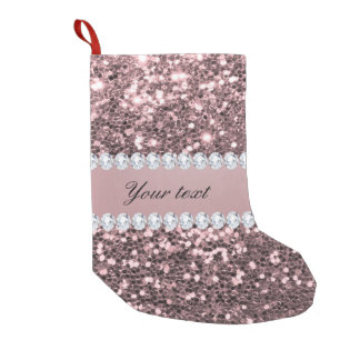 Trendy Rose Gold Faux Glitter and Diamonds Small Christmas Stocking