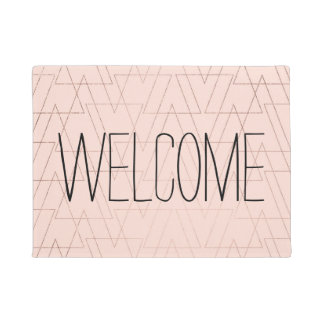 Trendy rose gold geometric triangles blush pink doormat