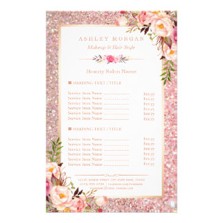 Trendy Rose Gold Glitter Floral Beauty Salon Menu 14 Cm X 21.5 Cm Flyer
