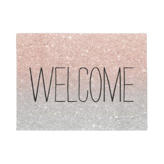 Trendy rose gold glitter ombre silver glitter doormat