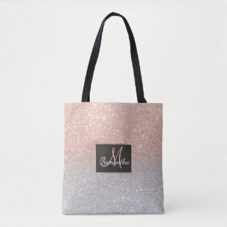 Trendy rose gold glitter ombre silver glitter tote bag