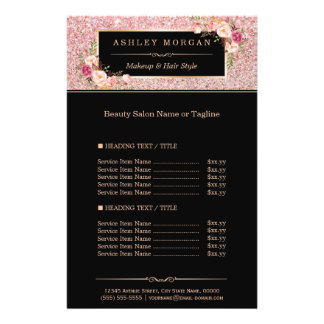 Trendy Rose Gold Glitter Sparkling Girly Floral Flyer