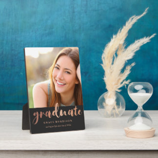 Trendy Rose Gold Graduation Photo Plaque