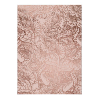 Trendy rose gold hand drawn flowers on blush pink poster