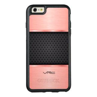 Trendy Rose Gold Metallic Design And  Black OtterBox iPhone 6/6s Plus Case