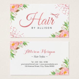 Trendy Rose Gold Scissors Floral Hair Stylist