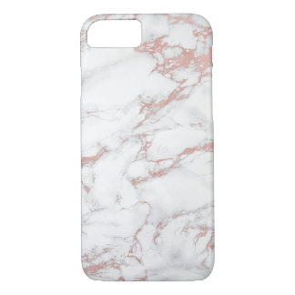 Trendy Rose Gold & White Marble Elegant iPhone 8/7 Case