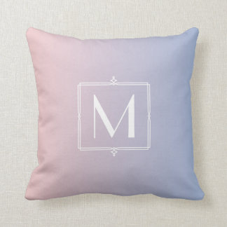Trendy Rose Quartz Pink Serenity Blue Monogrammed Cushion