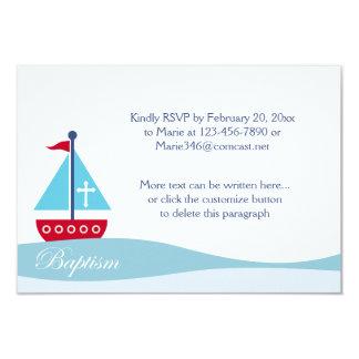 Trendy Sailboat Baptism RSVP Enclosure Cards 9 Cm X 13 Cm Invitation Card