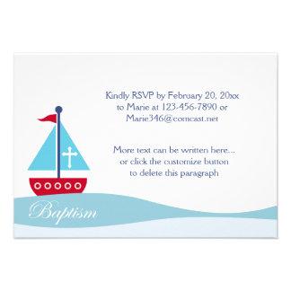 Trendy Sailboat Baptism RSVP Enclosure Cards Invitations