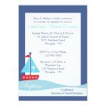 Trendy Sailboat (Navy) Baptism Invitation