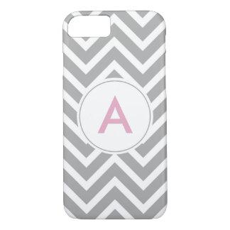 Trendy Scandinavian Grey Pink Chevron Monogram iPhone 8/7 Case