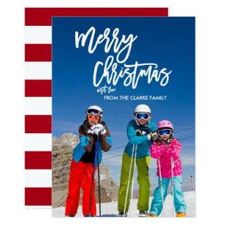 Trendy Script Merry Christmas | Holiday Photo Card 13 Cm X 18 Cm Invitation Card