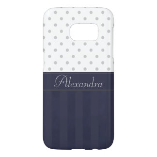 Trendy Silver Dots and Blue Stripes with Name