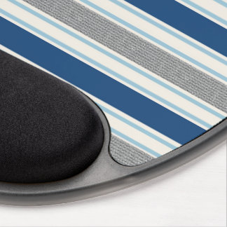 Trendy Silver Gray And Blue Stripes Pattern Gel Mouse Pad