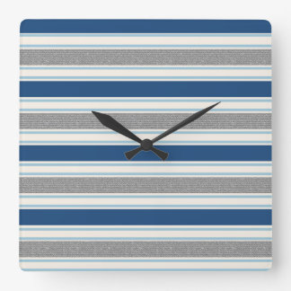 Trendy Silver Grey And Blue Stripes Pattern Square Wall Clock