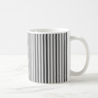 Trendy Silver Grey Horizontal Stripes Basic White Mug