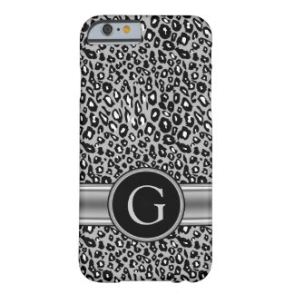 Trendy Silver Leopard Pattern and Monogram Barely There iPhone 6 Case