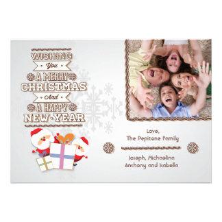 Trendy Silver Snowflake And Santa Flat Photo Card
