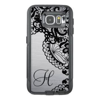Trendy Silver with Black Lace & custom Monogram OtterBox Samsung Galaxy S6 Case