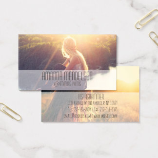 Trendy simple overlay photo business card