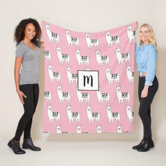 Trendy Sketchy Llamas Pattern & Initial Letter Fleece Blanket