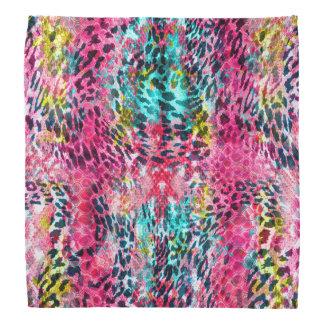 trendy snake skin leopard animal print blend neon bandanna