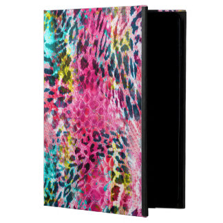 trendy snake skin leopard animal print blend neon iPad air covers
