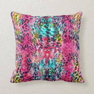 trendy snake skin leopard animal print blend neon throw pillow