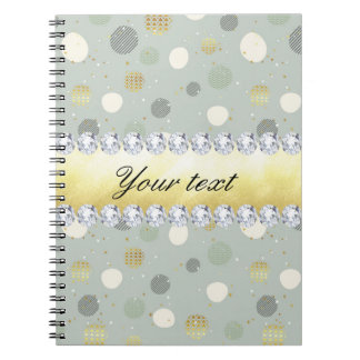 Trendy Snow Polka Dots Stars Diamonds Notebook