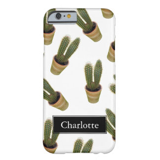 Trendy Southwestern Cactus Motif Custom Name Barely There iPhone 6 Case