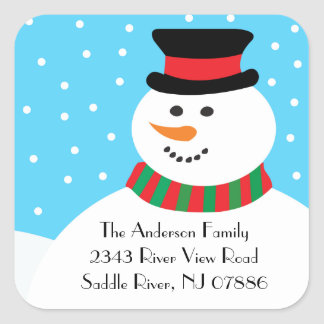 Trendy Square Snowman Holiday Address Label Sticker