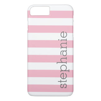 Trendy Striped Pattern with name - Pastel Pink iPhone 8 Plus/7 Plus Case