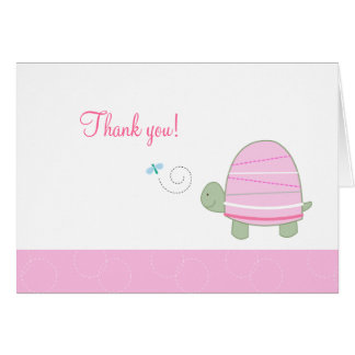 Trendy Striped Turtle Pink Folded Thank you notes