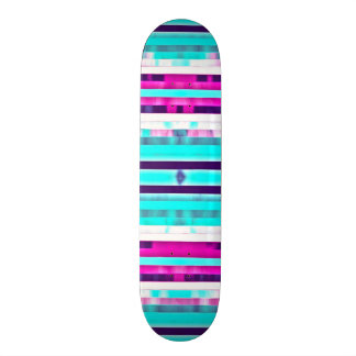 Trendy Stripes Abstract Multicolor Girly Pattern Skate Board Deck