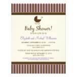 Trendy Stripes Baby Shower Invite (lilac/brown)