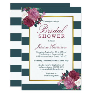 Trendy Stripes Floral Bridal Shower Card