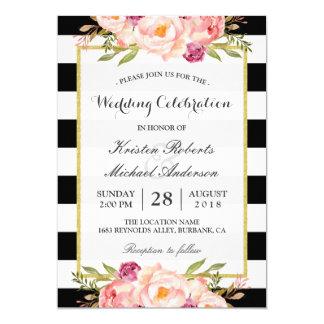 Trendy Stripes Floral Gold Wedding Celebration 13 Cm X 18 Cm Invitation Card