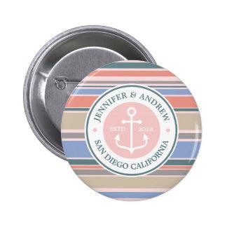 Trendy Stripes Monogram Anchor Pink Nautical Beach 6 Cm Round Badge