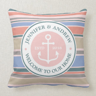 Trendy Stripes Monogram Anchor Pink Nautical Beach Cushion
