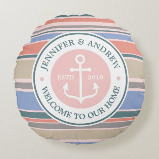 Trendy Stripes Monogram Anchor Pink Nautical Beach Round Cushion