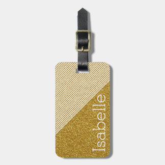 Trendy Stripes Monogram Gold Glitter Photo Print Luggage Tag