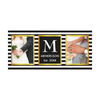 Trendy stripes monogram photo canvas print