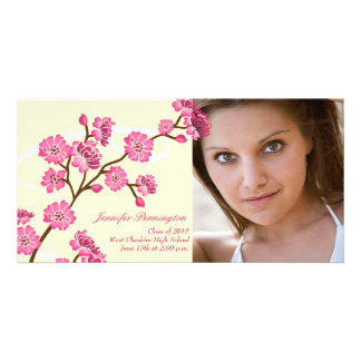 Trendy stylish cherry blossom graduation photocard card